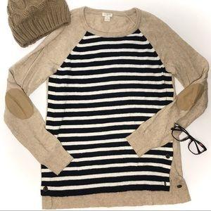 J.Crew Side-Button,Elbow-Patch Sweater, Sz S